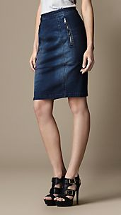 Zip Detail Denim Pencil Skirt