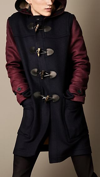 Colour Block Wool Blend Duffle Coat