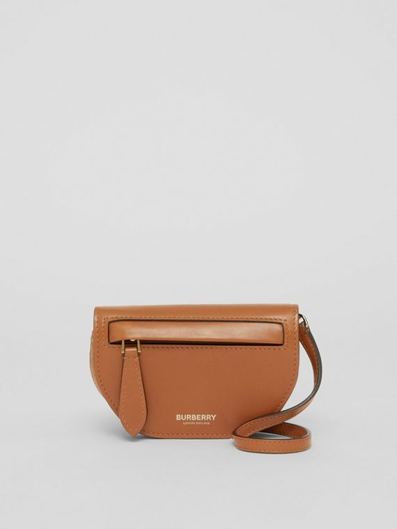 Leather Olympia Card Case with Detachable Strap in Warm Tan