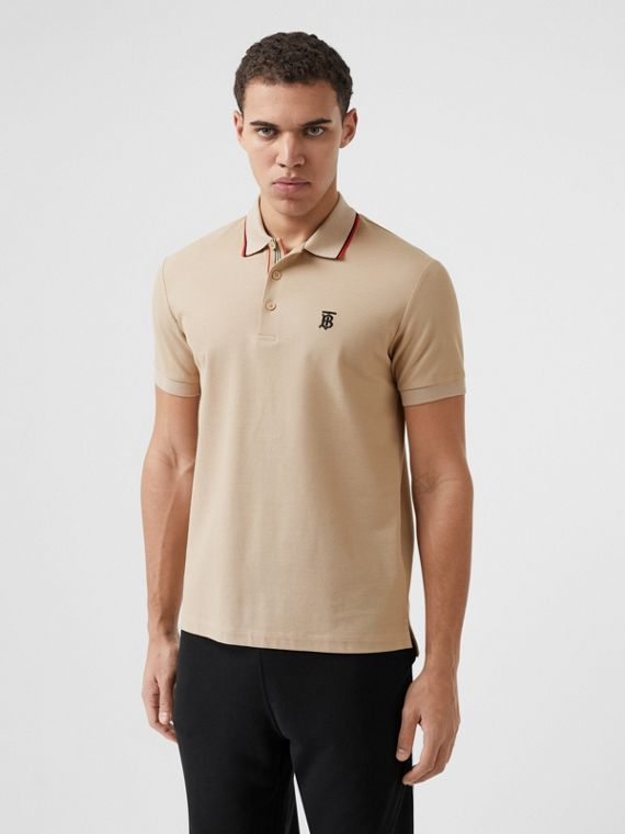 Monogram Motif Cotton Piqué Polo Shirt in Soft Fawn