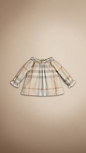 Check Frill Collar Top