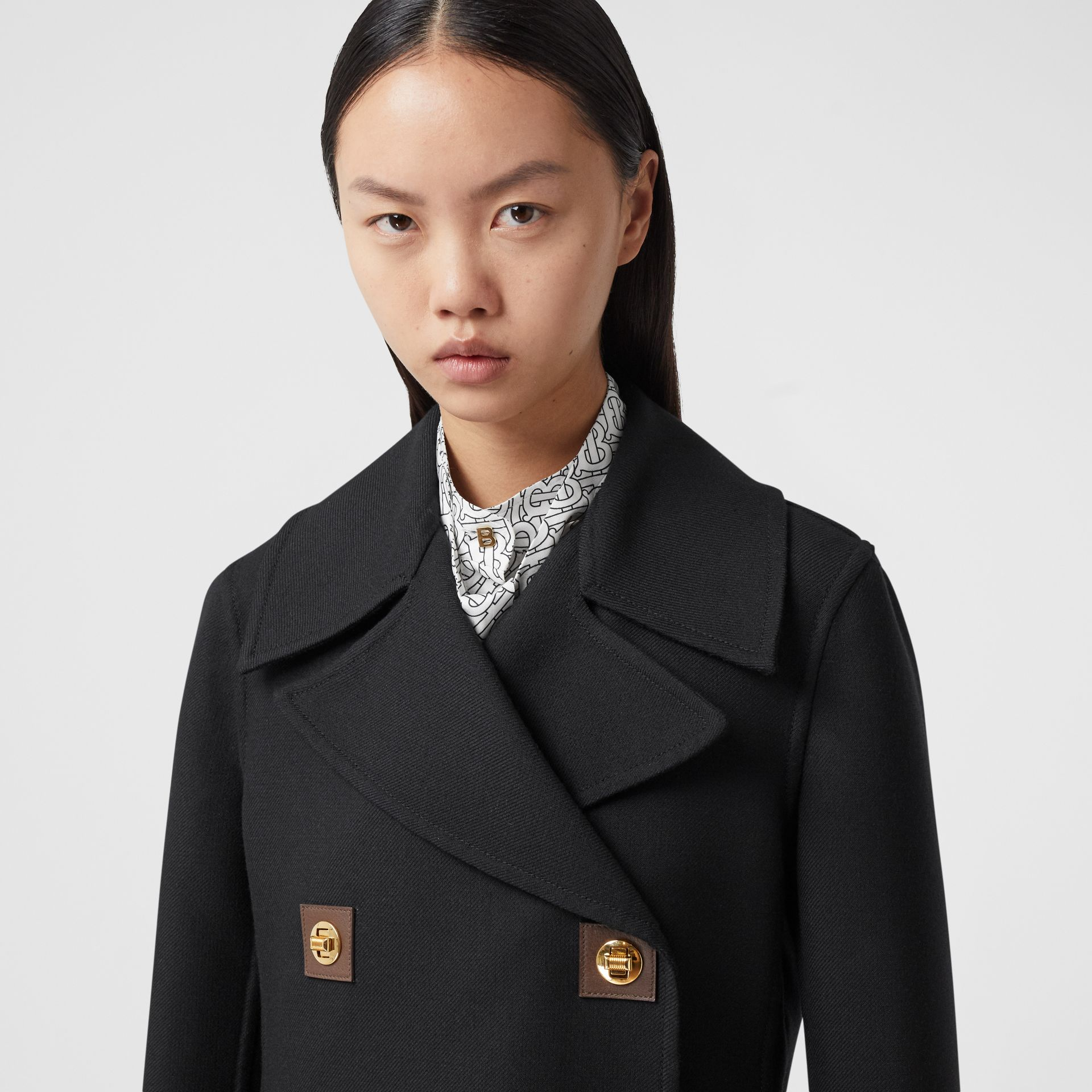 Double-faced Wool Pea Coat in Black - Women | Burberry - gallery image 1