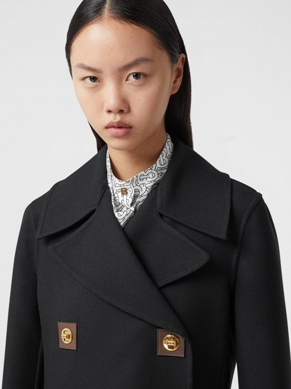 Double-faced Wool Pea Coat in Black - Women | Burberry - cell image 1