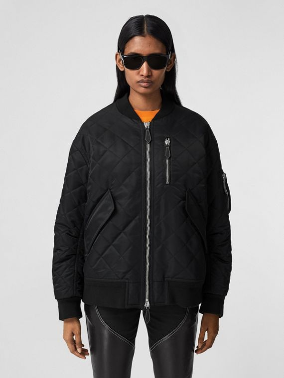 Diamond Quilted Nylon and Cotton Bomber Jacket in Black/black