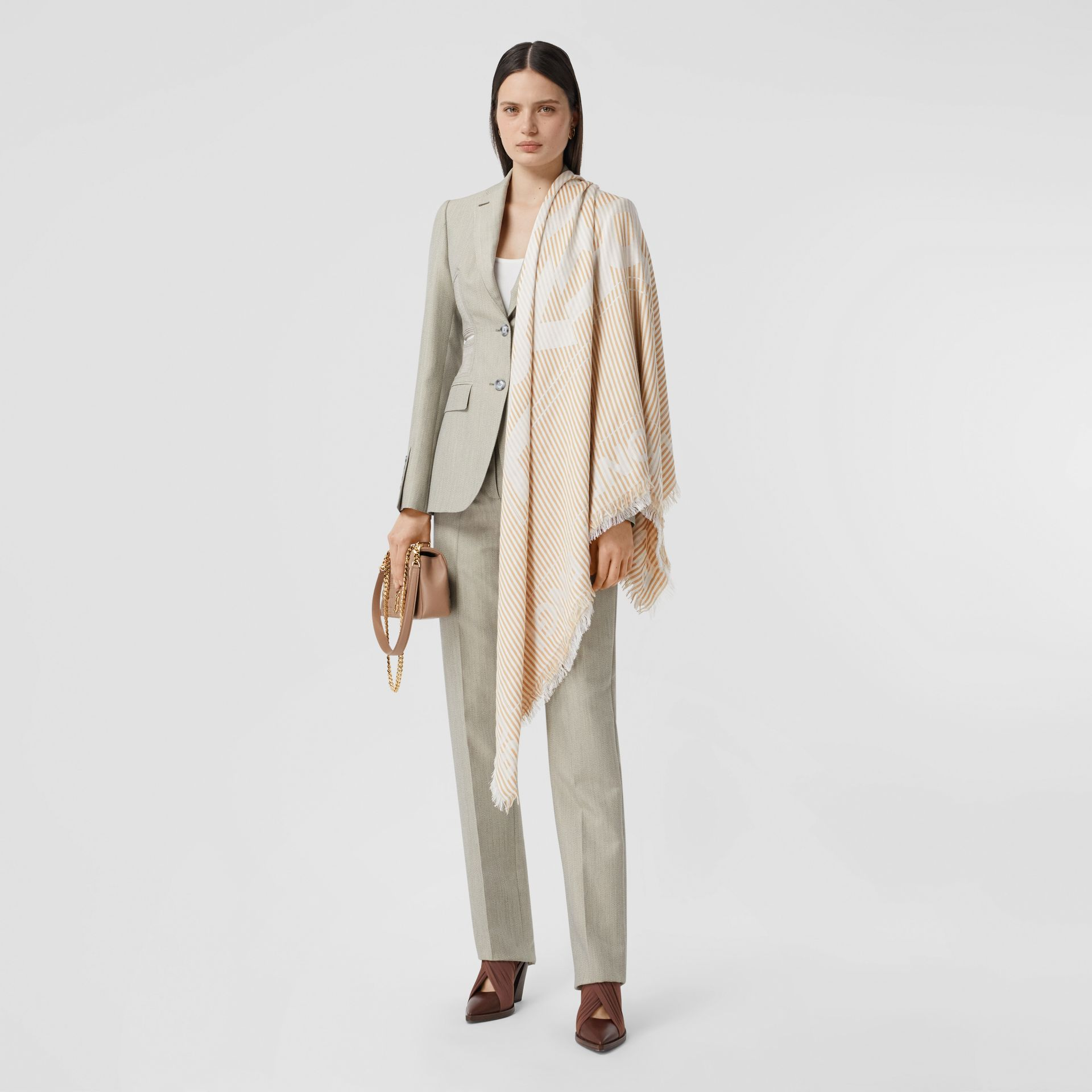 Striped Logo Silk Wool Jacquard Large Square Scarf in Archive Beige   Burberry - gallery image 5