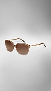 Leather Wrapped Cat-Eye Sunglasses