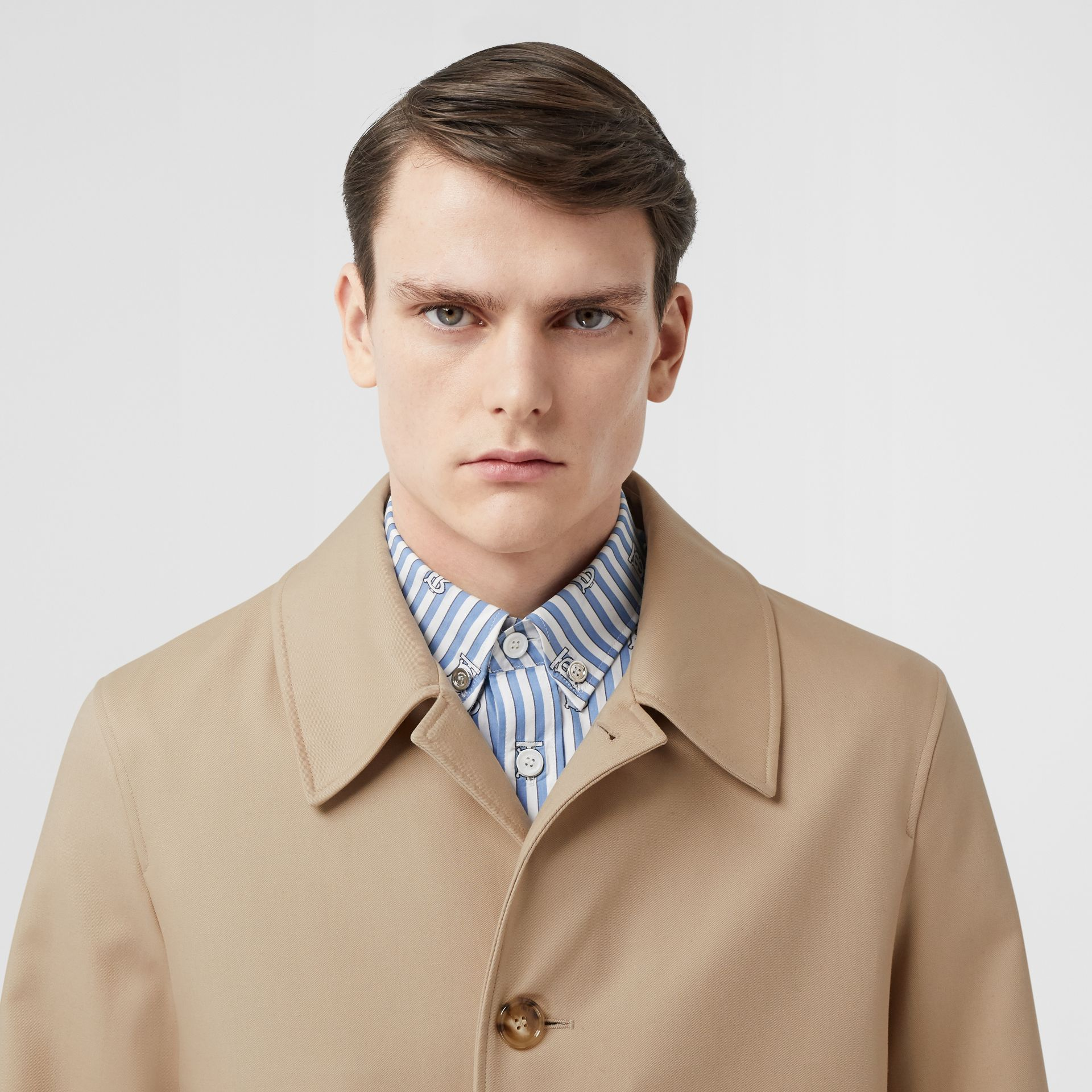 Stripe Detail Cotton Gabardine Car Coat in Soft Fawn - Men | Burberry - gallery image 6
