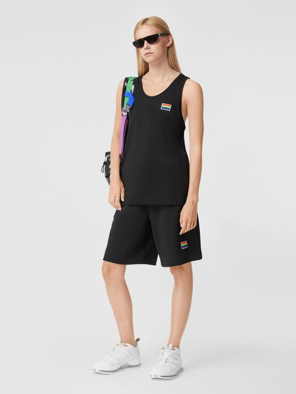 Rainbow Appliqué Cotton Drawcord Shorts – Unisex in Black | Burberry United Kingdom - cell image 3