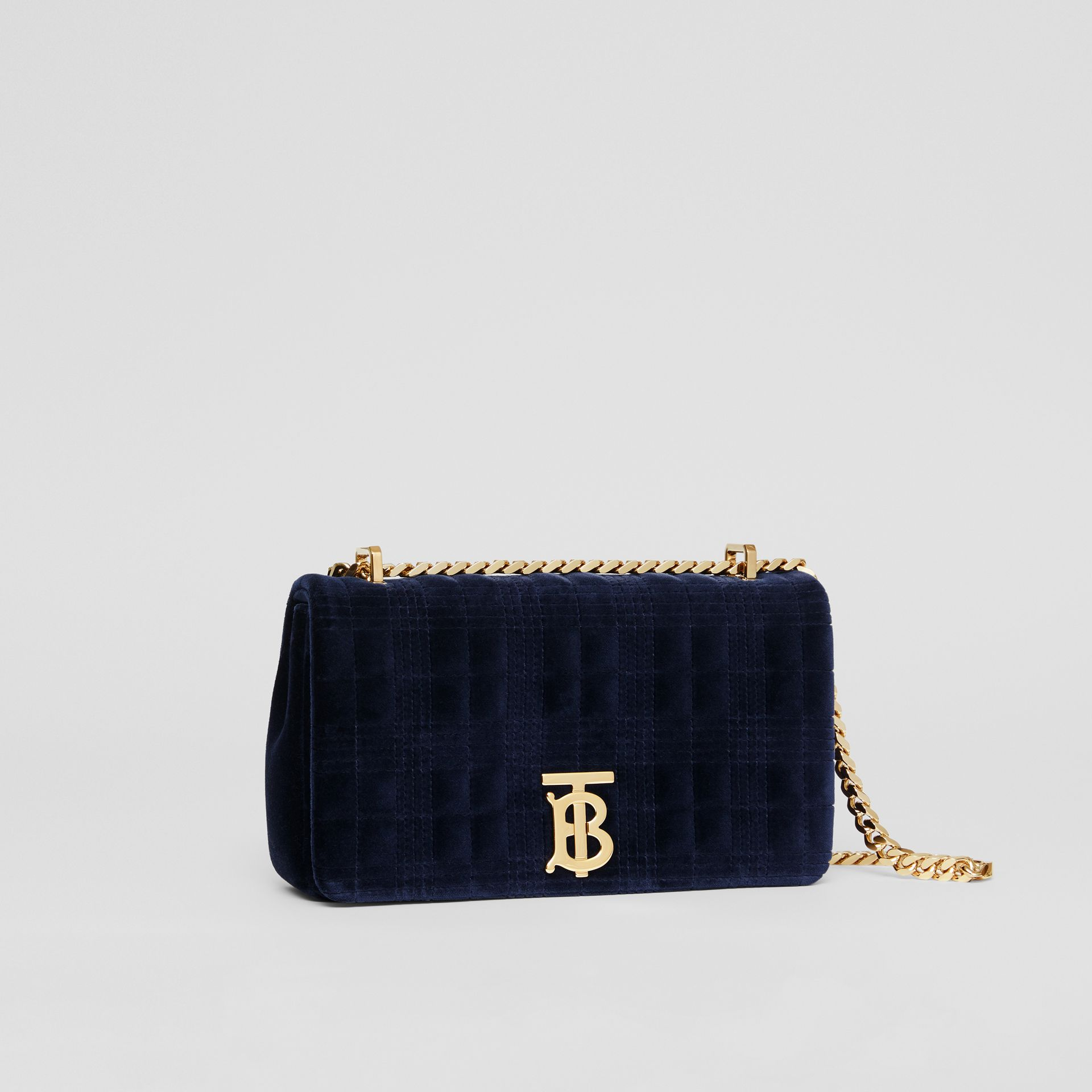 Small Quilted Velvet Lola Bag in Navy - Women | Burberry Australia - gallery image 6