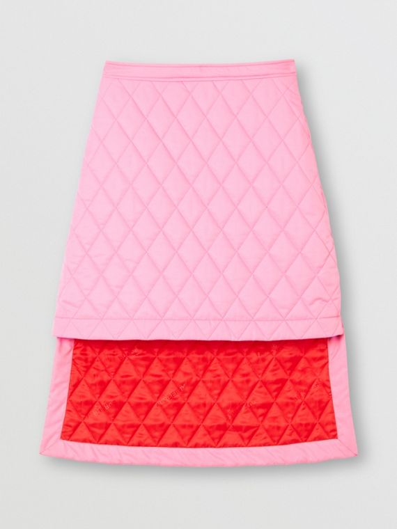 Asymmetric Diamond Quilted Skirt in Bubblegum Pink