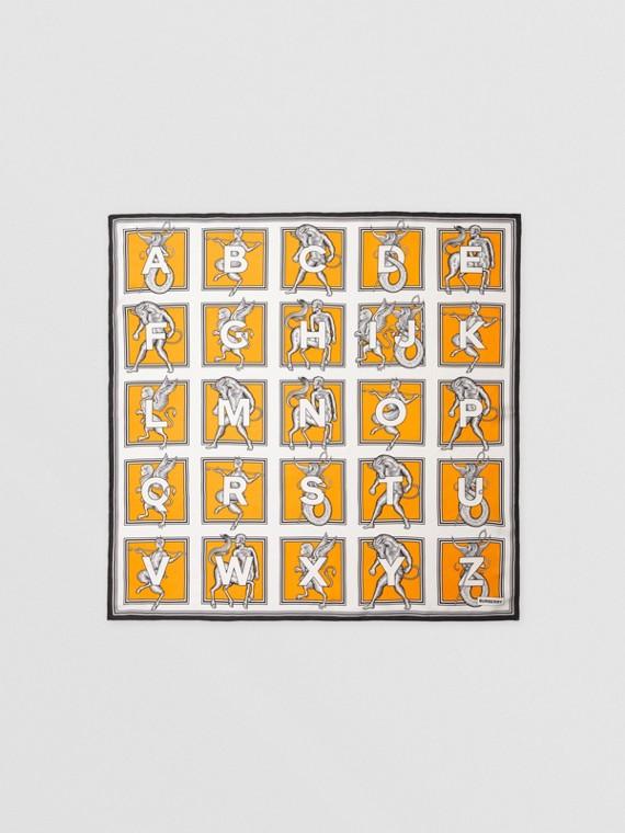 Mythical Alphabet Print Silk Square Scarf in Bright Orange