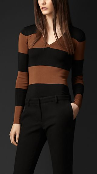 Block Stripe Stretch-Silk Sweater