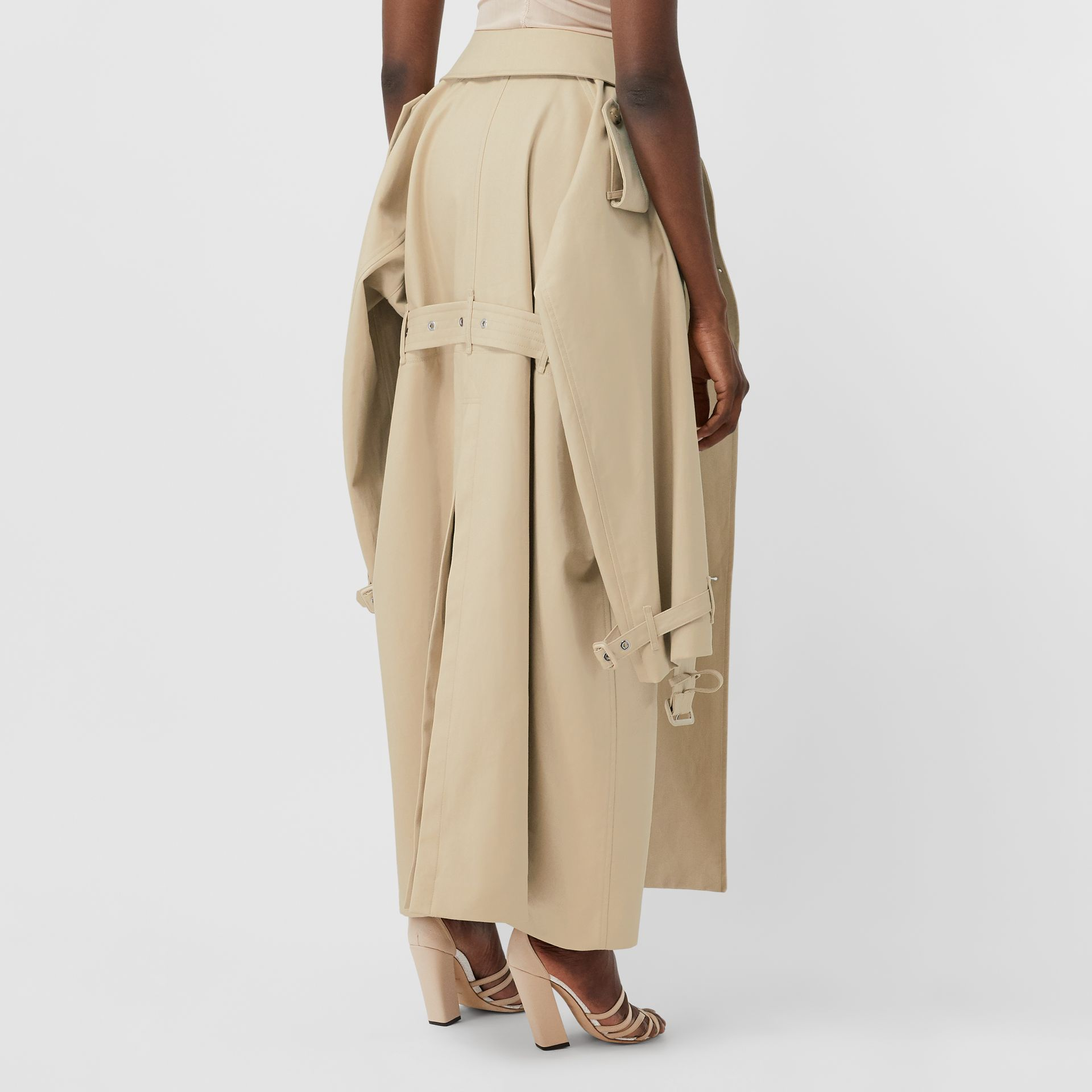Detachable Trench Coat Detail Cotton Twill Mini Skirt in Soft Fawn - Women | Burberry - gallery image 2