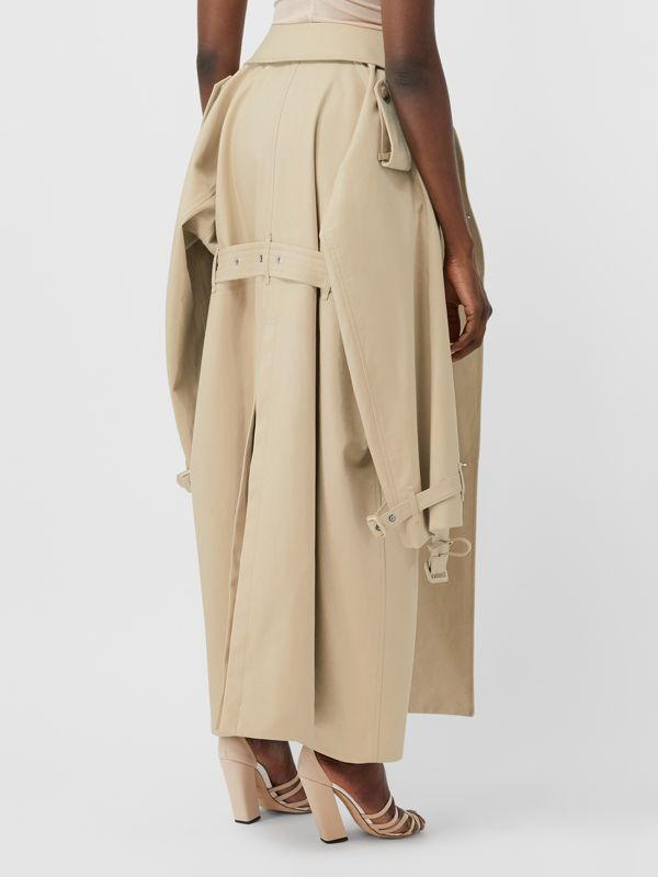 Detachable Trench Coat Detail Cotton Twill Mini Skirt in Soft Fawn - Women | Burberry - cell image 2