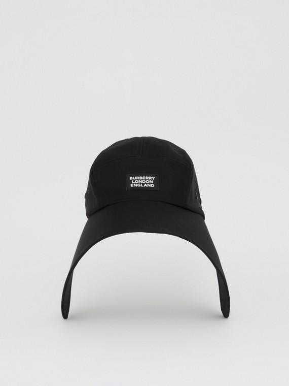 Logo Appliqué Cotton Twill Bonnet Cap in Black