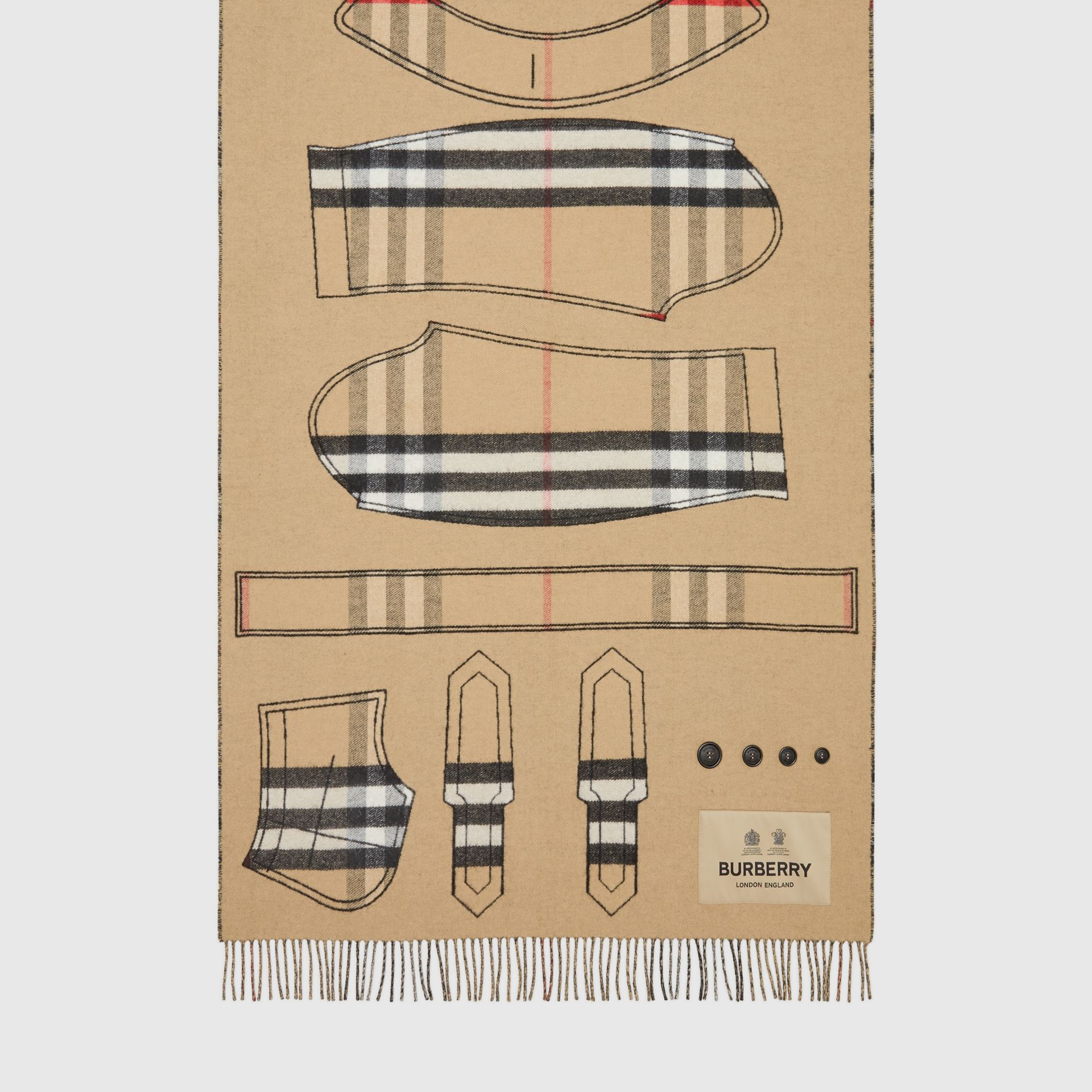 Archive Trench Coat Pattern Cashmere Jacquard Scarf in Beige | Burberry - gallery image 3