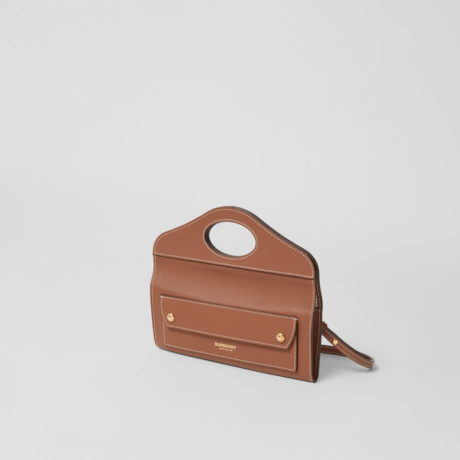 Mini Topstitched Lambskin Pocket Clutch in Malt Brown - Women | Burberry - gallery image 3