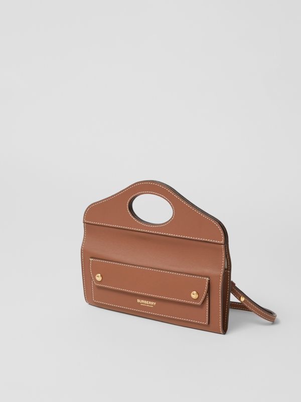 Mini Topstitched Lambskin Pocket Clutch in Malt Brown - Women | Burberry - cell image 3