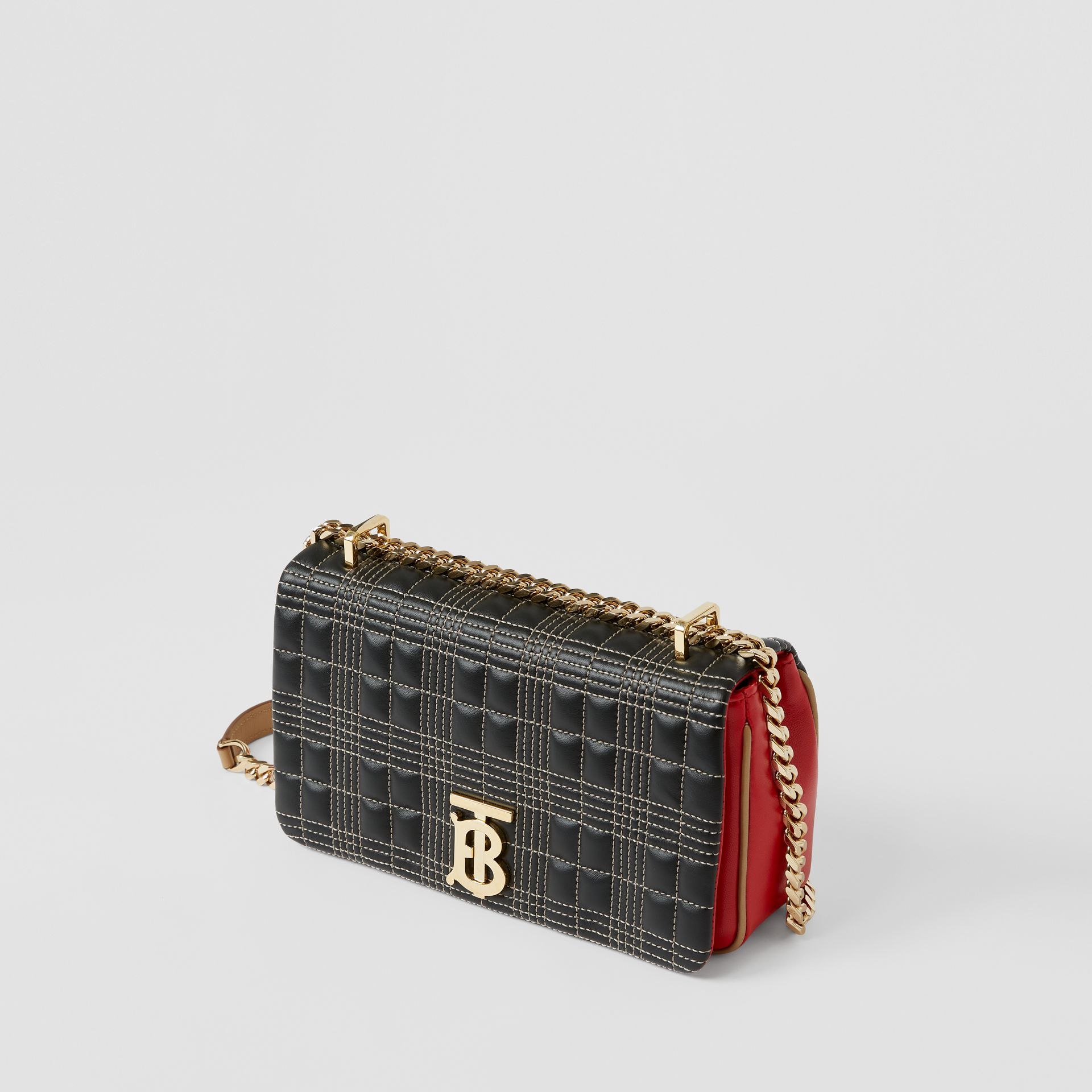 Small Quilted Tri-tone Lambskin Lola Bag in Black/bright Red - Women | Burberry - gallery image 3