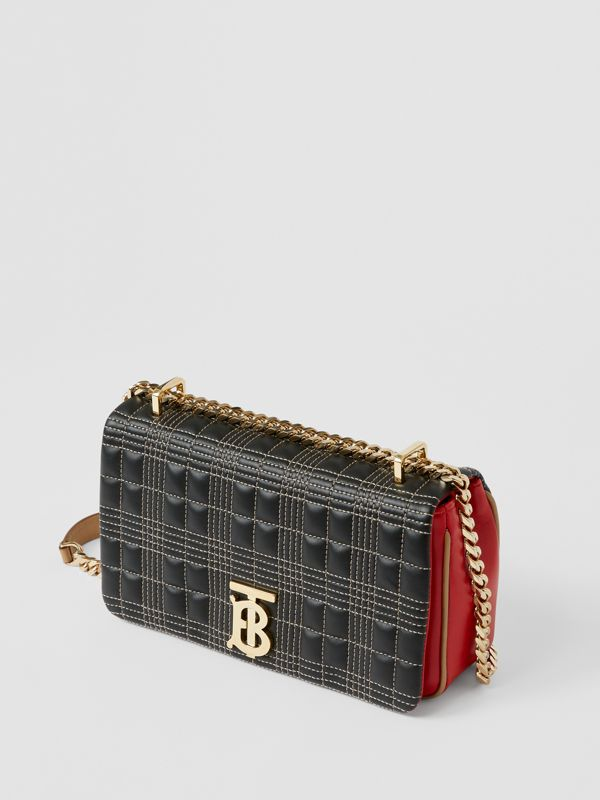 Small Quilted Tri-tone Lambskin Lola Bag in Black/bright Red - Women | Burberry - cell image 3