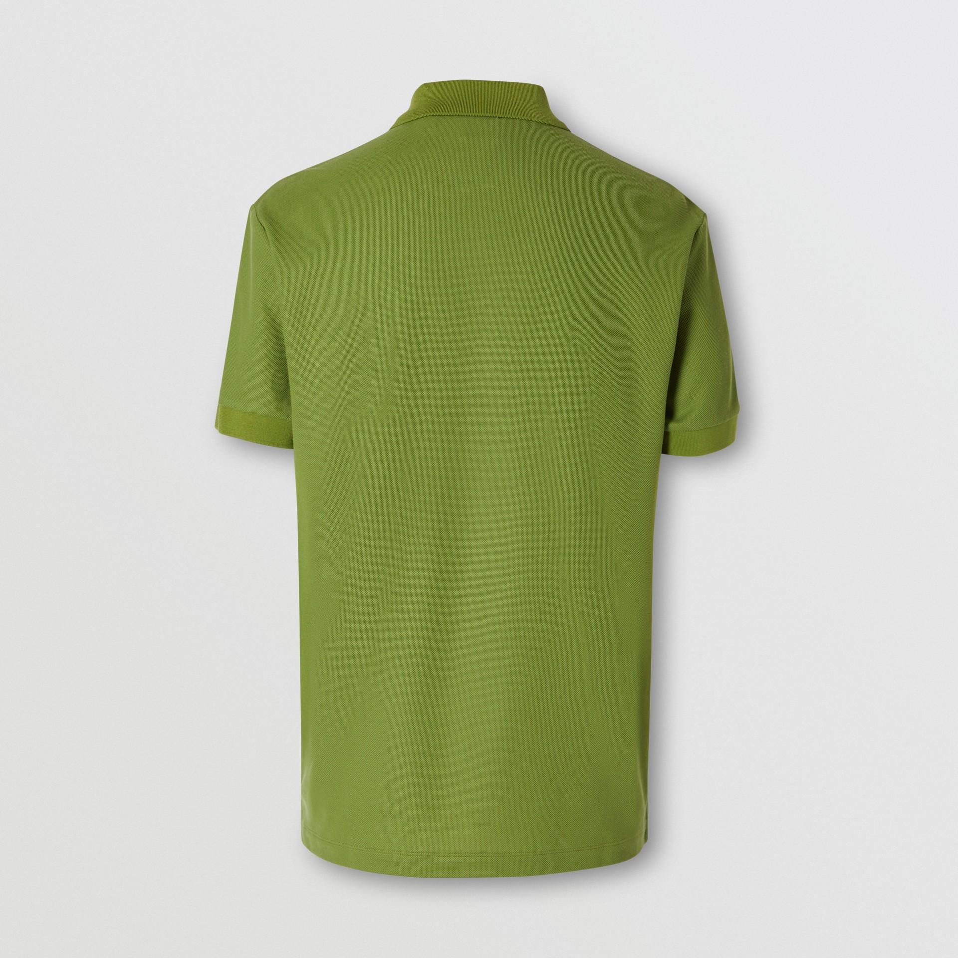 Monogram Motif Cotton Piqué Polo Shirt in Cedar Green - Men   Burberry - gallery image 5