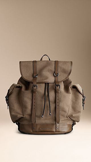 Leather Trim Cotton Canvas Backpack