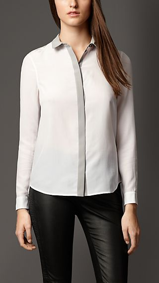 Colour Block Silk Shirt