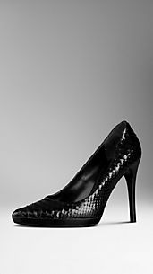 Python Leather Platform Pumps