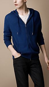 Zip-Front Cashmere Hooded Top