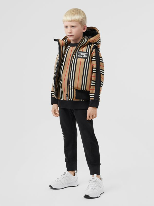 Detachable Hood Icon Stripe Puffer Gilet in Archive Beige   Burberry - cell image 3