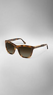 Wood Detail Square Frame Sunglasses