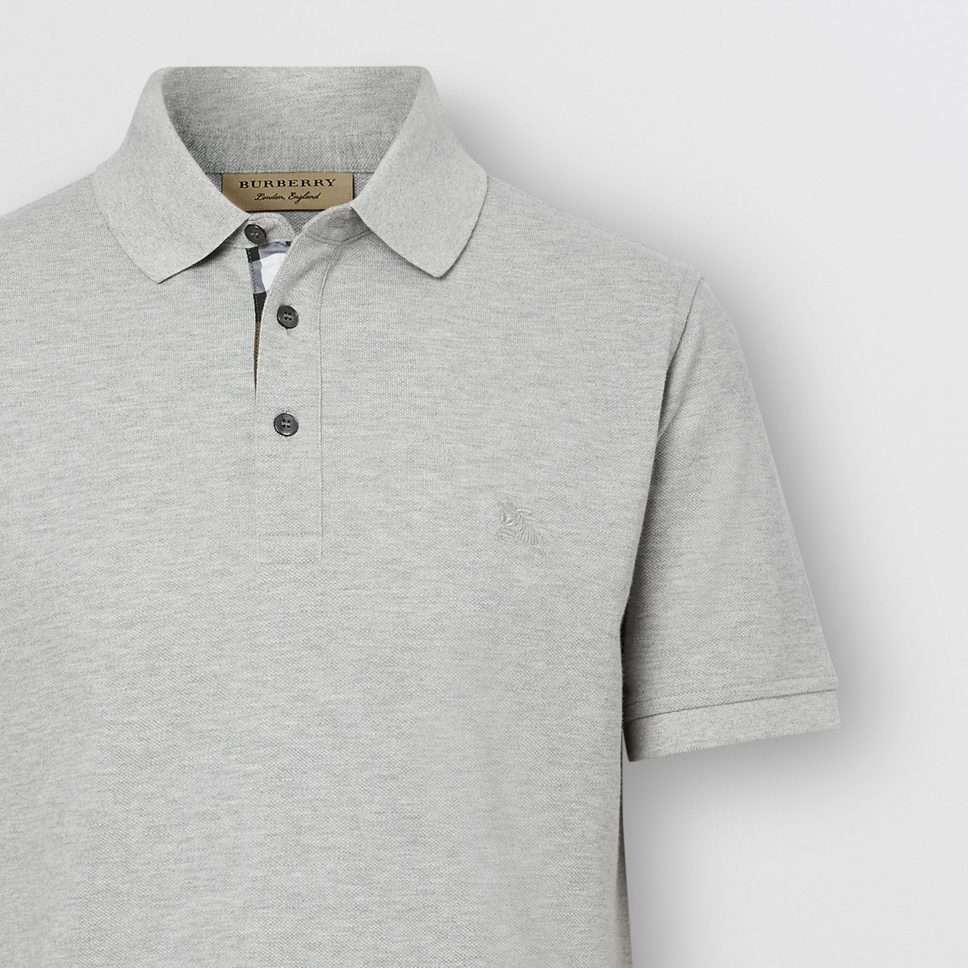 Check Placket Cotton Piqué Polo Shirt in Pale Grey Melange - Men | Burberry Hong Kong S.A.R. - gallery image 1