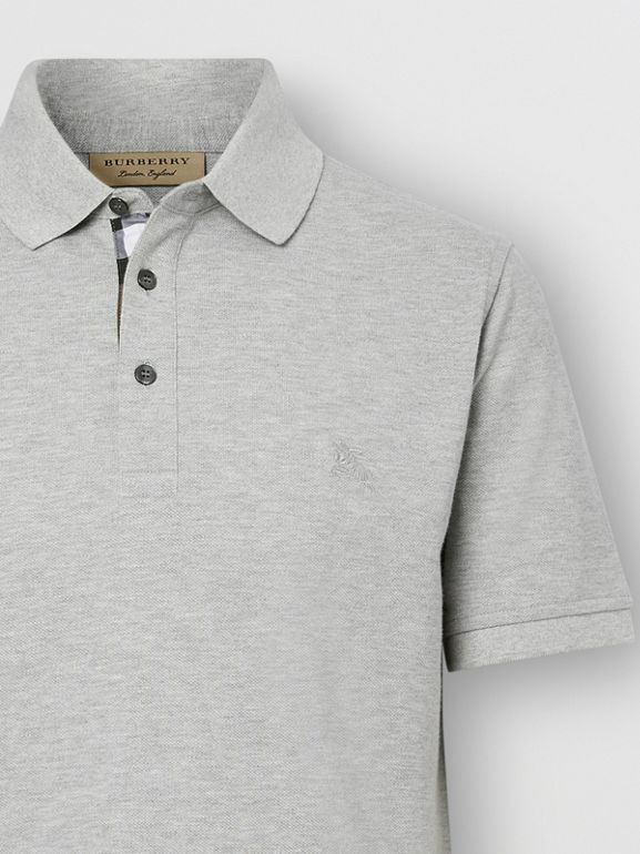 Check Placket Cotton Piqué Polo Shirt in Pale Grey Melange - Men | Burberry Canada - cell image 1
