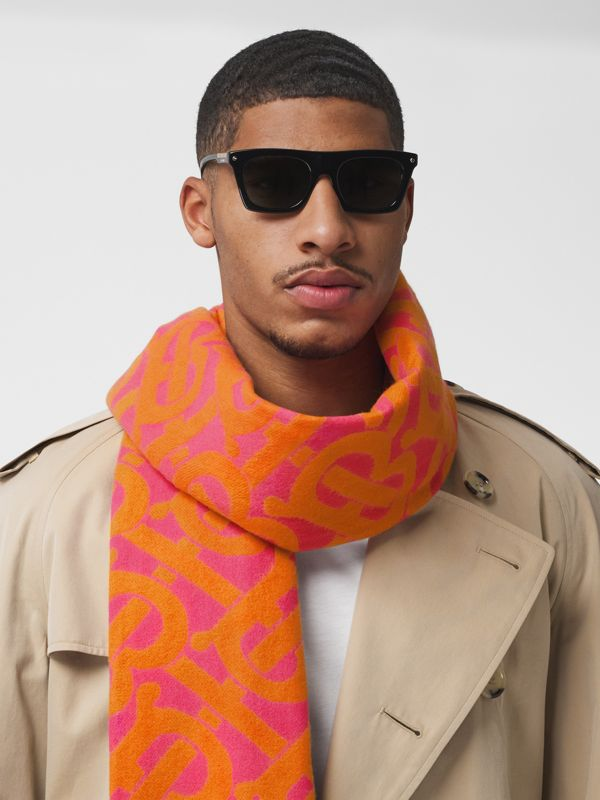 Monogram Cashmere Jacquard Scarf in Bright Pink | Burberry - cell image 3