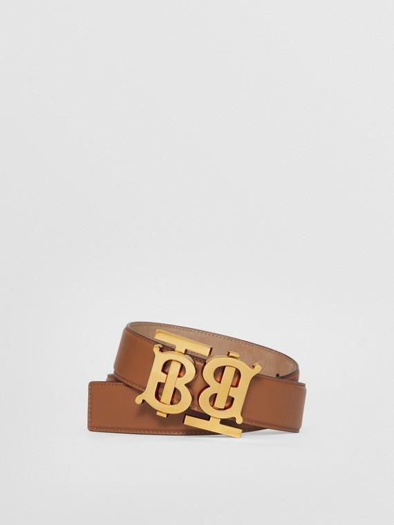 Double Monogram Motif Leather Belt in Warm Tan