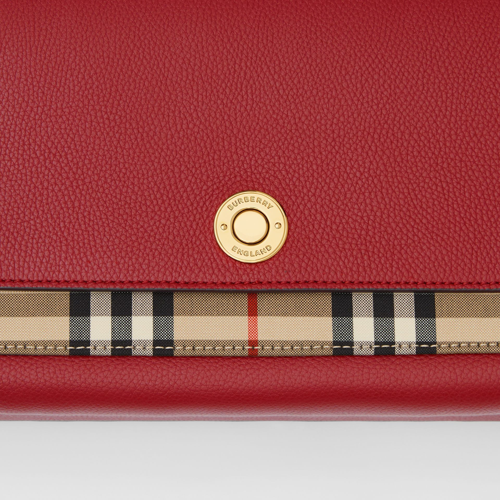 Leather and Vintage Check Note Crossbody Bag in Dark Carmine - Women | Burberry United States - gallery image 1