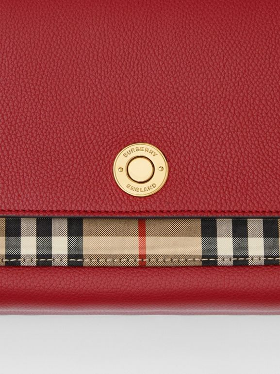 Leather and Vintage Check Note Crossbody Bag in Dark Carmine - Women | Burberry United States - cell image 1