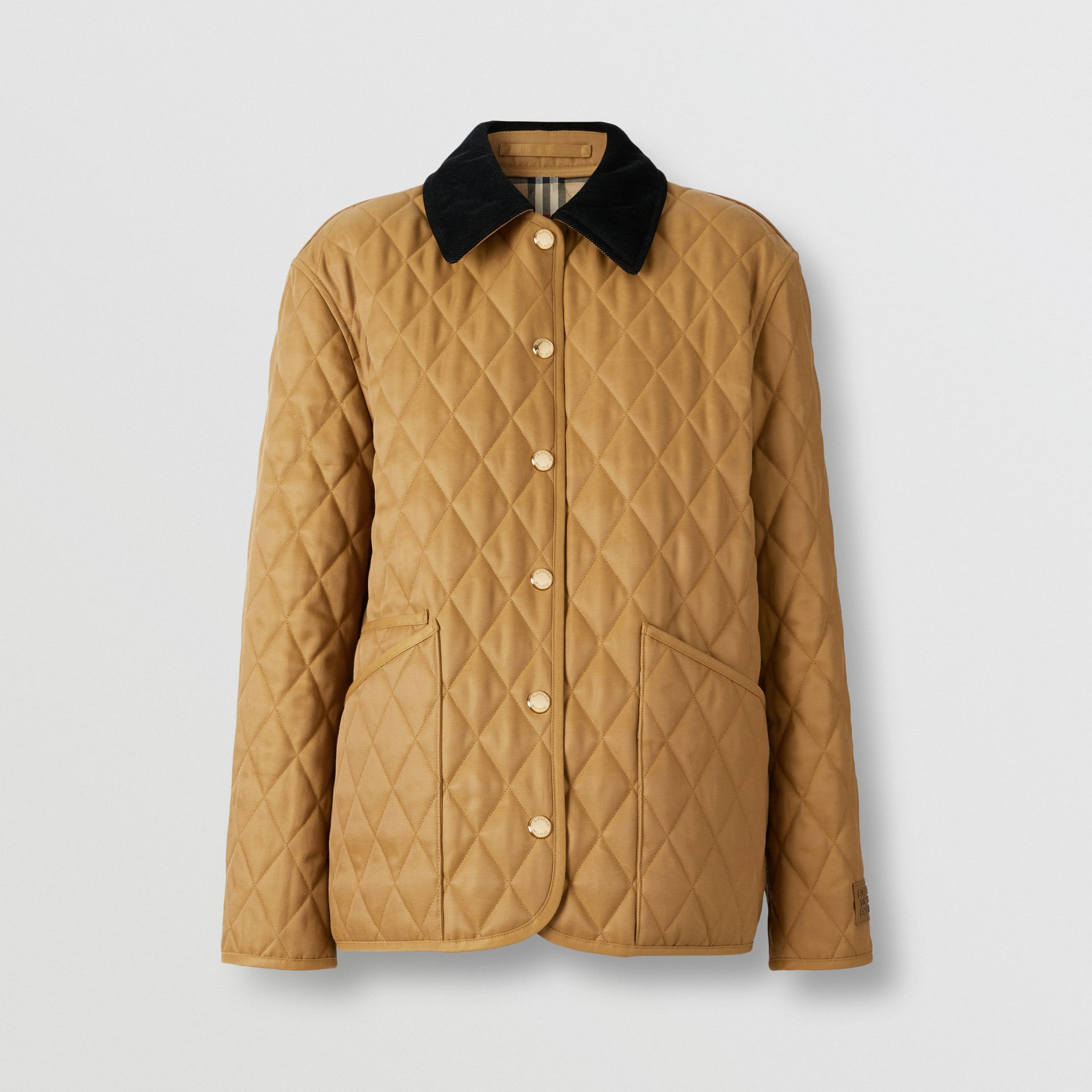 Corduroy Collar Diamond Quilted Jacket in Camel - Women | Burberry - gallery image 0