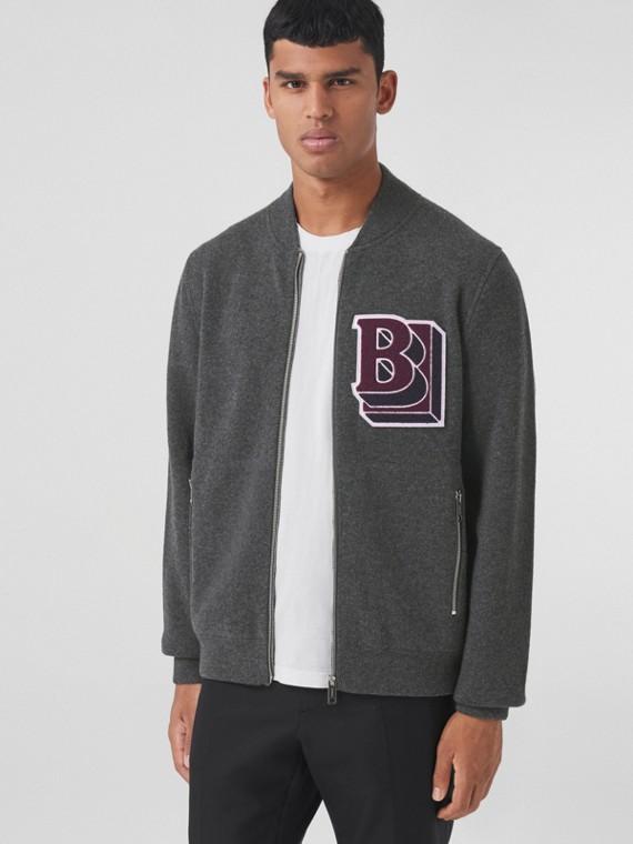 Letter Graphic Wool Cashmere Blend Bomber Jacket in Mid Grey Melange
