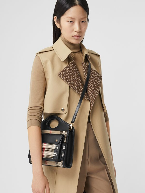 Mini Latticed Leather Pocket Bag in Archive Beige/black - Women | Burberry - cell image 2