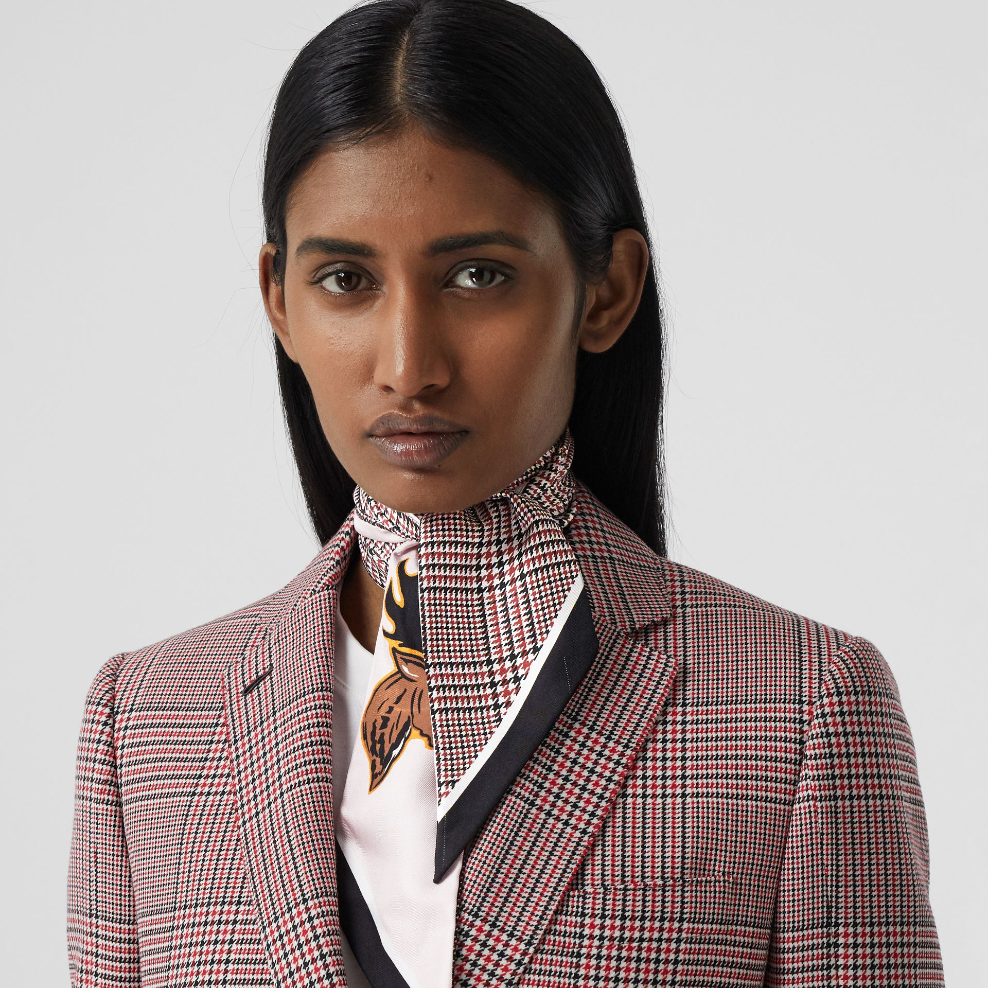 Varsity Graphic and Houndstooth Check Silk Skinny Scarf in Pink | Burberry - gallery image 8