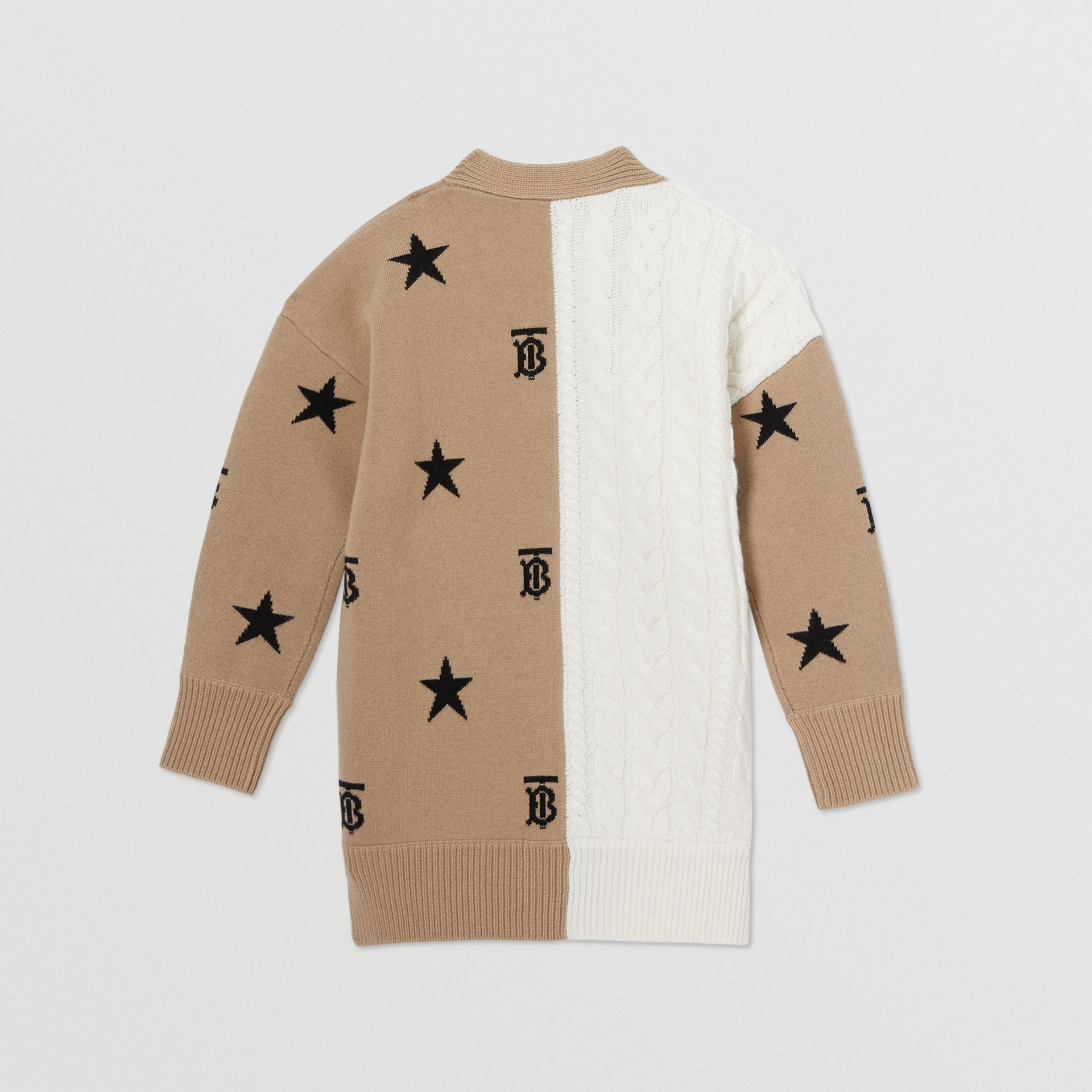 Star and Monogram Motif Wool Cashmere Cardigan in Archive Beige | Burberry - gallery image 3
