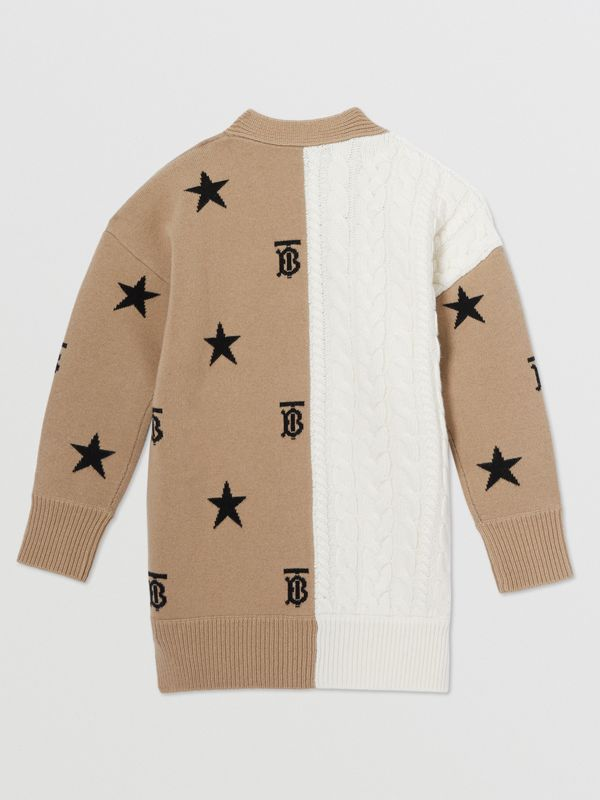 Star and Monogram Motif Wool Cashmere Cardigan in Archive Beige | Burberry - cell image 3