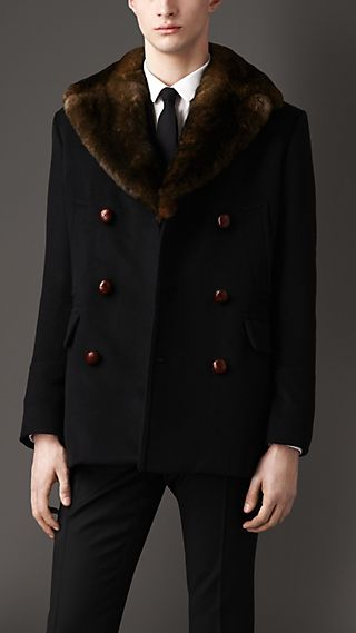 Fur Collar Pea Coat
