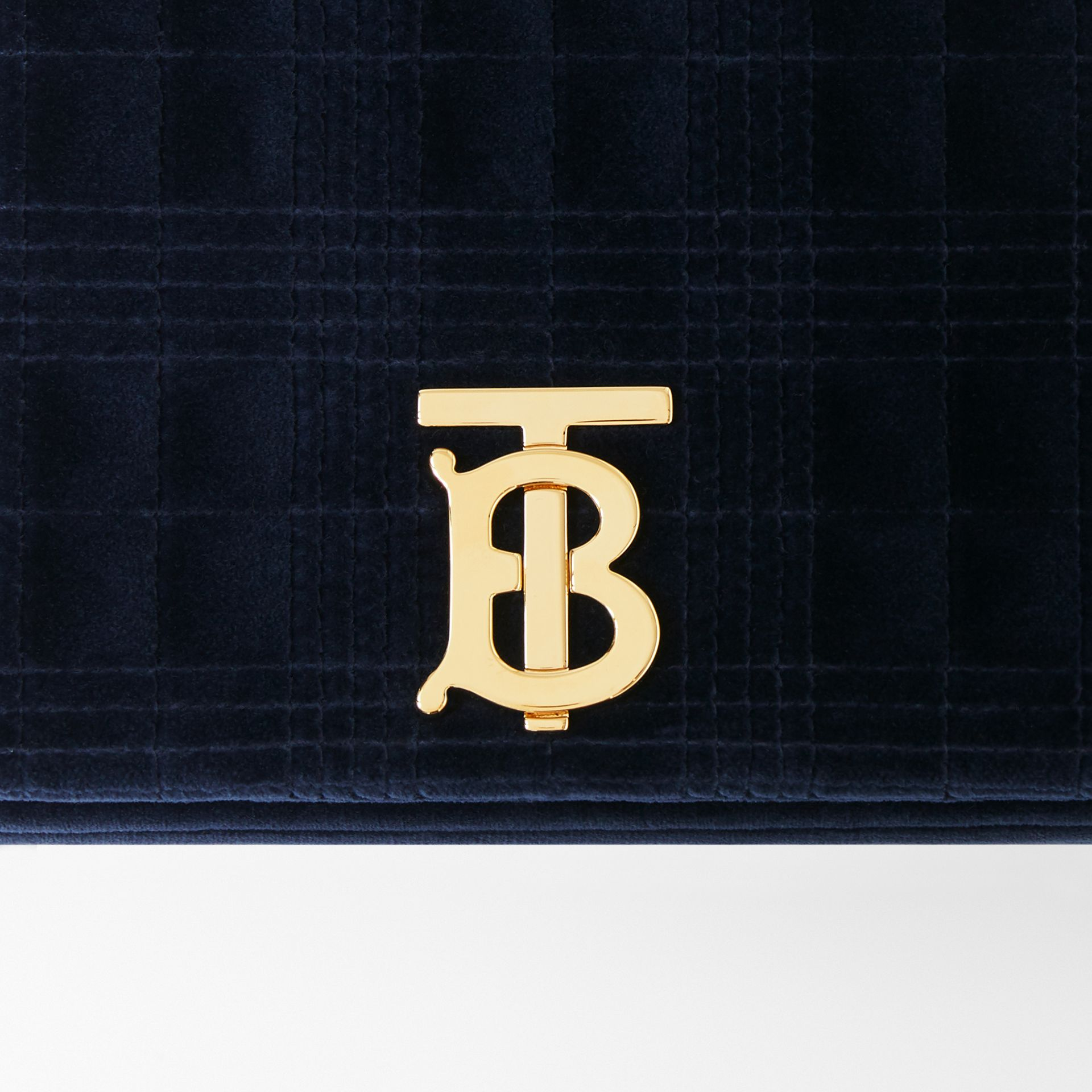 Small Quilted Velvet Lola Bag in Navy - Women | Burberry Australia - gallery image 1