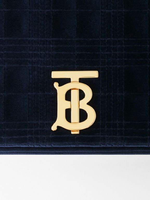 Small Quilted Velvet Lola Bag in Navy - Women | Burberry - cell image 1