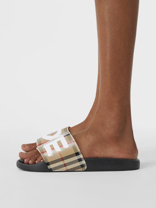 Love Print Vintage Check Slides in Archive Beige - Women | Burberry - cell image 2