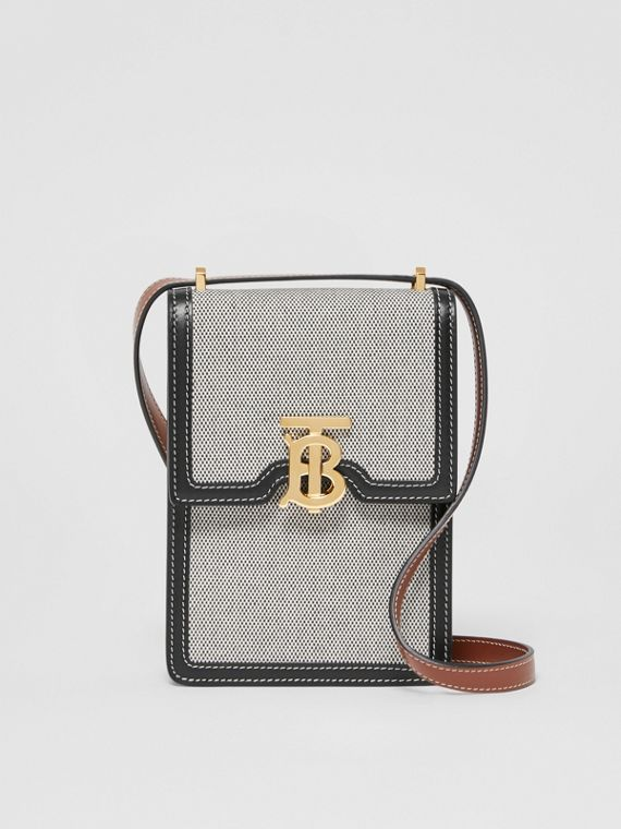 Cotton Canvas and Two-tone Leather Robin Bag in Black/tan