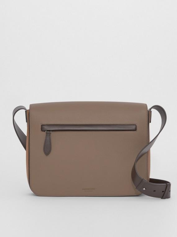Small Colour Block Leather Messenger Bag in Light Acorn/tan
