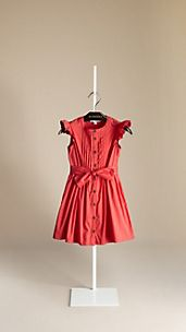 Cotton Flutter Sleeve Dress